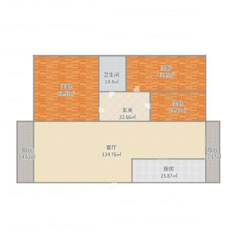 嘉宝豪庭3室1厅1卫1厨464.00㎡户型图