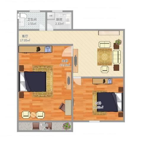 香山新村西南街坊2室1厅1卫1厨79.00㎡户型图