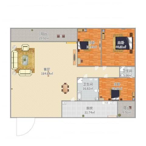 名苑华庭3室1厅2卫1厨497.00㎡户型图