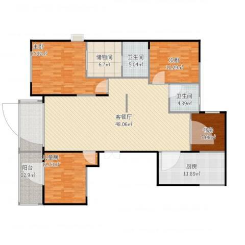 绿城玫瑰园4室1厅2卫1厨184.00㎡户型图