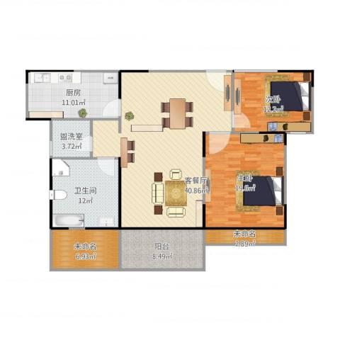 中熙凤凰城2室2厅1卫1厨157.00㎡户型图