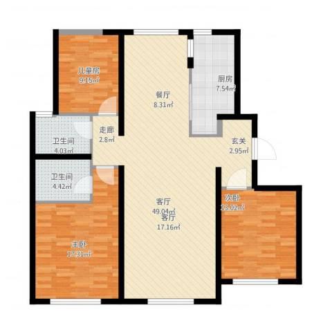 中海银海熙岸3室1厅2卫1厨146.00㎡户型图