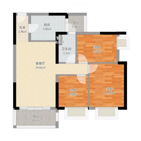金沙・山海名门3室1厅1卫1厨98.00㎡户型图