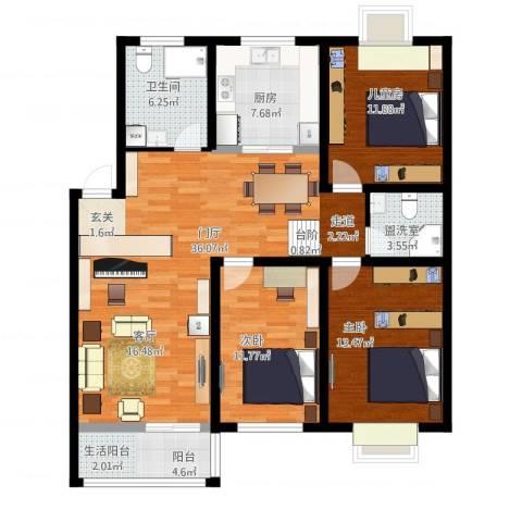 华侨花苑3室1厅1卫1厨136.00㎡户型图