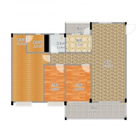 翠湖居2室1厅2卫2厨142.00㎡户型图