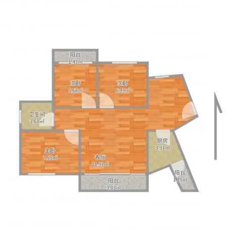 海投天湖城3室1厅1卫1厨73.00㎡户型图