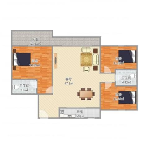 恒基花园四期1栋033室1厅2卫1厨128.00㎡户型图
