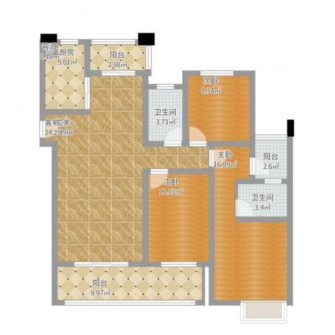 保利香槟国际3室1厅2卫1厨142.00㎡户型图