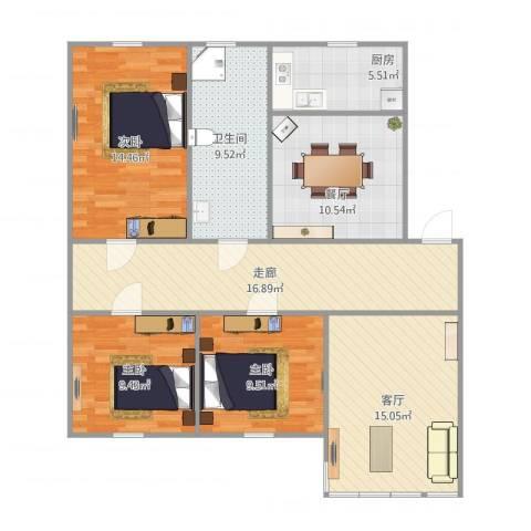 天顺花园3室2厅1卫1厨122.00㎡户型图