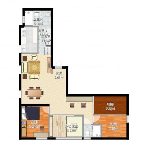 银帆国际3室1厅2卫1厨121.00㎡户型图