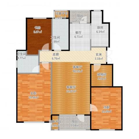万达金石天成3室1厅2卫1厨159.00㎡户型图