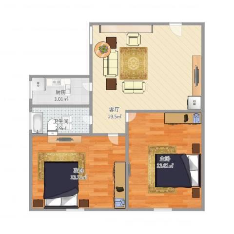 香山新村东南街坊1840弄2室1厅1卫1厨70.00㎡户型图