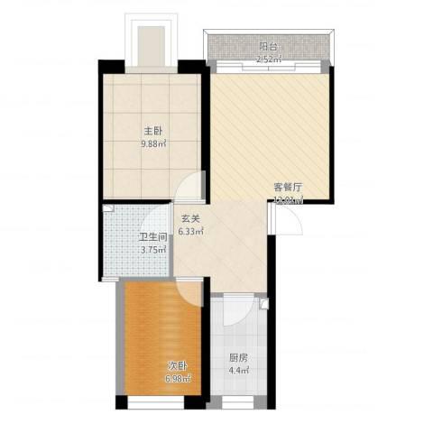 御景名门2室1厅1卫1厨67.00㎡户型图