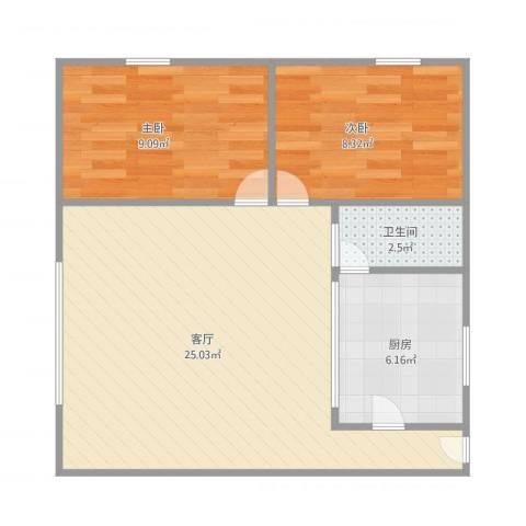 洪德雅苑2室1厅1卫1厨69.00㎡户型图