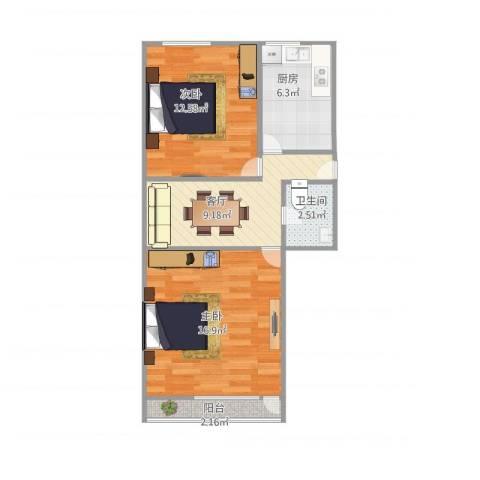 齐七小区2室1厅1卫1厨68.00㎡户型图