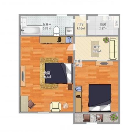 莱阳小区2室1厅1卫1厨74.00㎡户型图