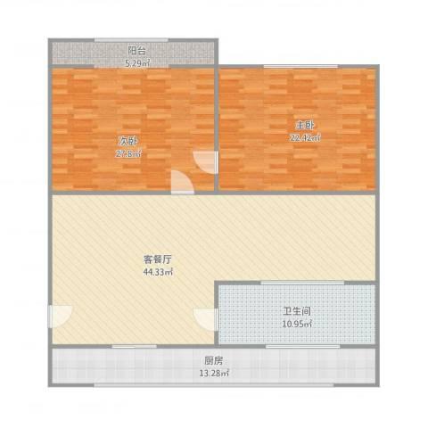 龙山花园2室1厅1卫1厨157.00㎡户型图