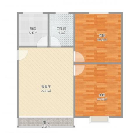 联城花园2室1厅1卫1厨83.00㎡户型图