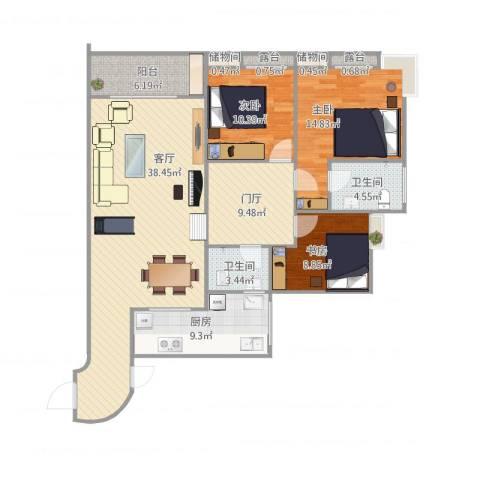 华宇・秋水长天3室1厅2卫1厨146.00㎡户型图