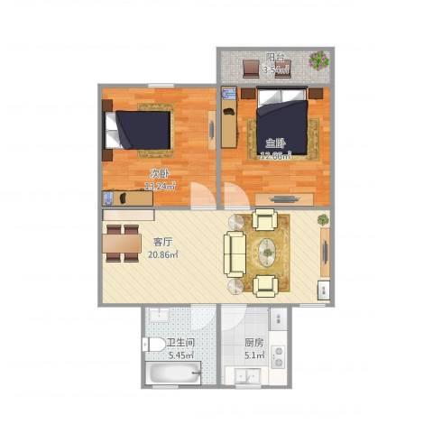 香山新村西北街坊2室1厅1卫1厨82.00㎡户型图