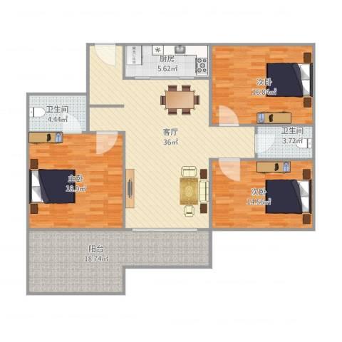 恒基花园四期4栋03户型3室1厅2卫1厨127.00㎡户型图