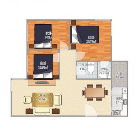 恒基花园四期4栋01户型3室1厅2卫1厨120.00㎡户型图