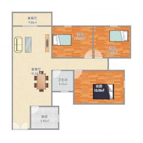 翠松楼3室2厅1卫1厨130.00㎡户型图