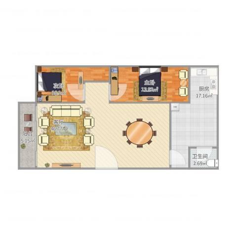 商业大厦7楼2室1厅1卫1厨128.00㎡户型图