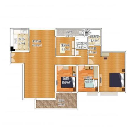 广州亚运城天誉2室1厅2卫1厨166.00㎡户型图