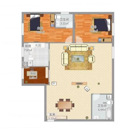 王家湾功臣楼3室1厅2卫1厨158.00㎡户型图