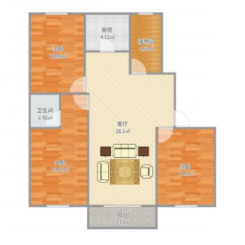 458033淞泽家园七区3室1厅1卫1厨105.00㎡户型图