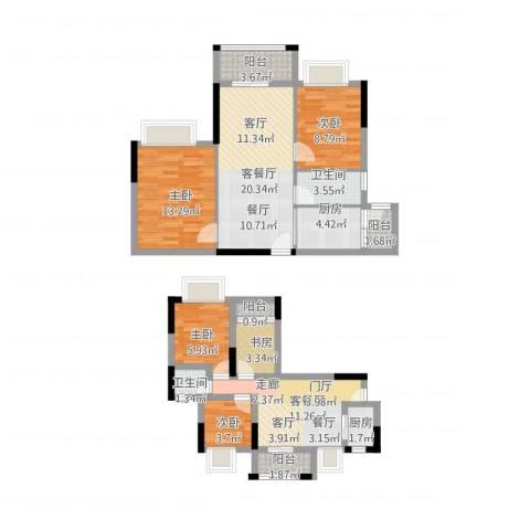 虎门国际公馆5室2厅2卫2厨127.00㎡户型图