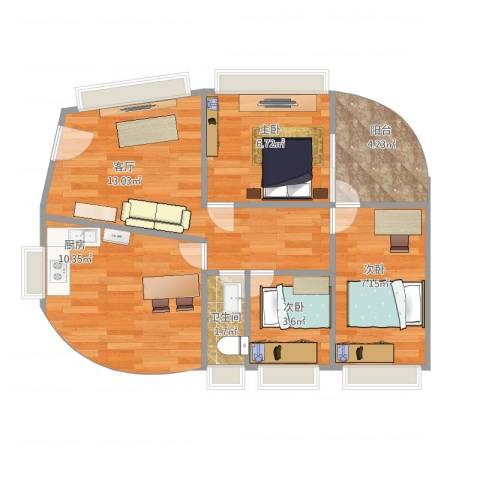 怡海花园两房户型3室1厅1卫1厨64.00㎡户型图