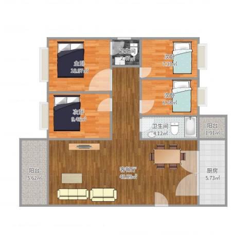 东明花园四期一栋504户型4室1厅2卫1厨128.00㎡户型图
