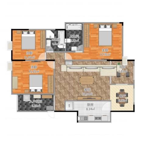 阳光清华3室1厅2卫1厨146.00㎡户型图