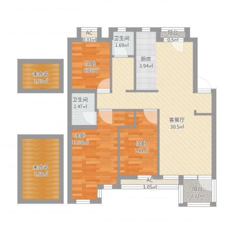 钻石湾地中海阳光3室1厅3卫1厨109.00㎡户型图