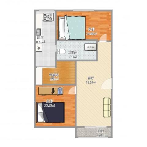 浦发绿城2079弄小区2室1厅1卫1厨90.00㎡户型图