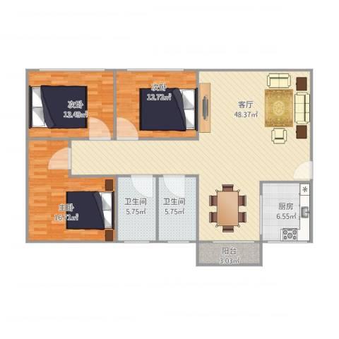 恒基花园四期4栋02户型3室1厅2卫1厨120.00㎡户型图