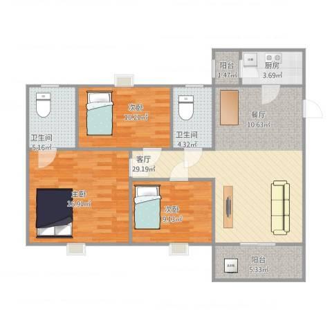 名雅豪庭3室1厅2卫1厨115.00㎡户型图