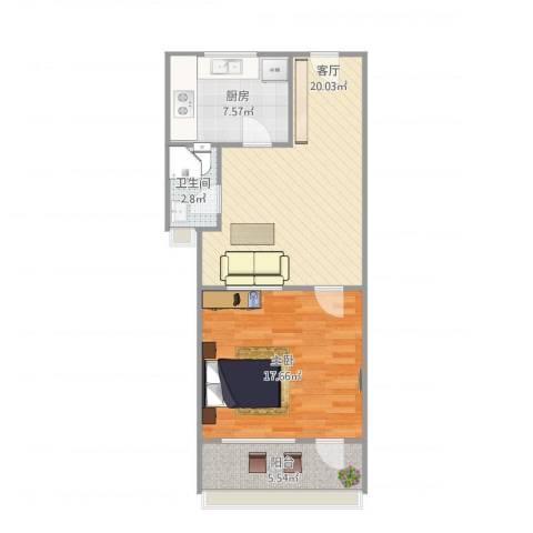 长盛小区1室1厅1卫1厨72.00㎡户型图