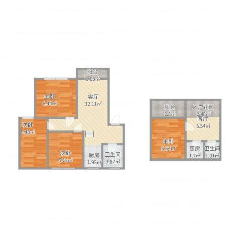 滨河花园4室2厅2卫1厨53.57㎡户型图