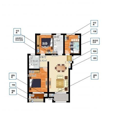 高科绿水东城4室1厅2卫1厨109.00㎡户型图