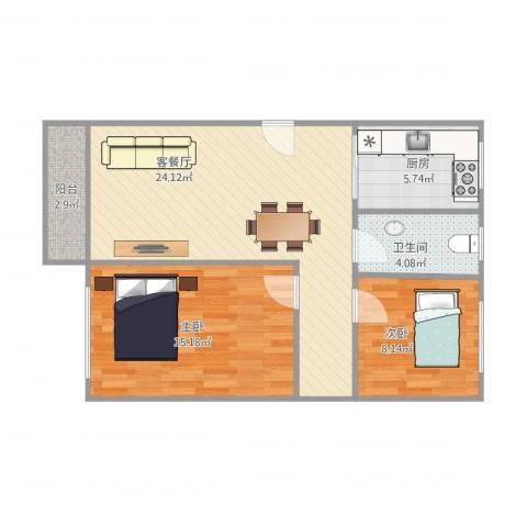 东明花园四期1栋3022室1厅1卫1厨81.00㎡户型图