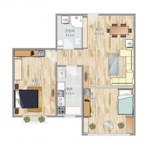 青岛百通兴隆家园2室1厅1卫1厨60.52㎡户型图