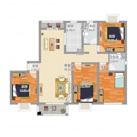 平江盛世家园4室1厅2卫1厨154.00㎡户型图