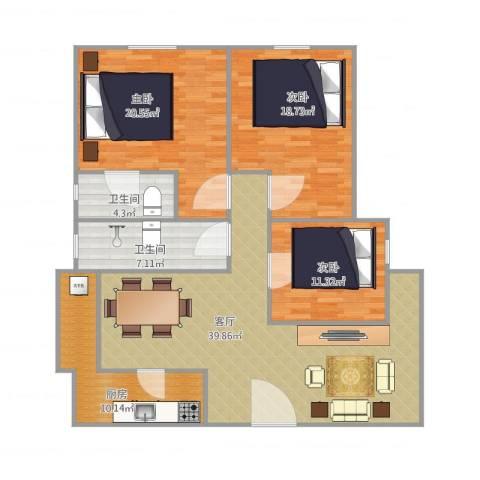 恒基花园四期4栋02户型图3室1厅2卫1厨120.00㎡户型图