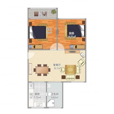 鸿基公寓2室1厅1卫1厨108.00㎡户型图
