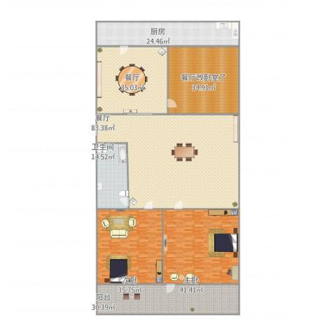 明湖小区2室2厅1卫1厨391.00㎡户型图