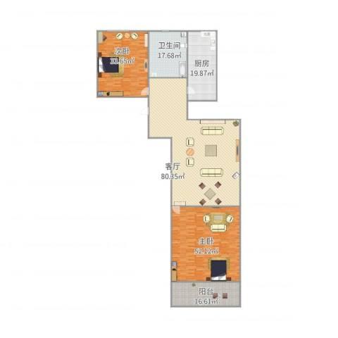 宝华新区2室1厅1卫1厨287.00㎡户型图