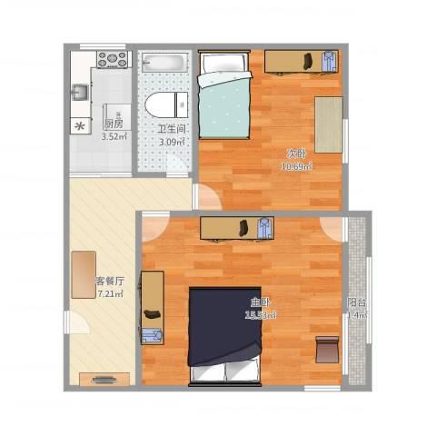 上南十二村2室1厅1卫1厨57.00㎡户型图